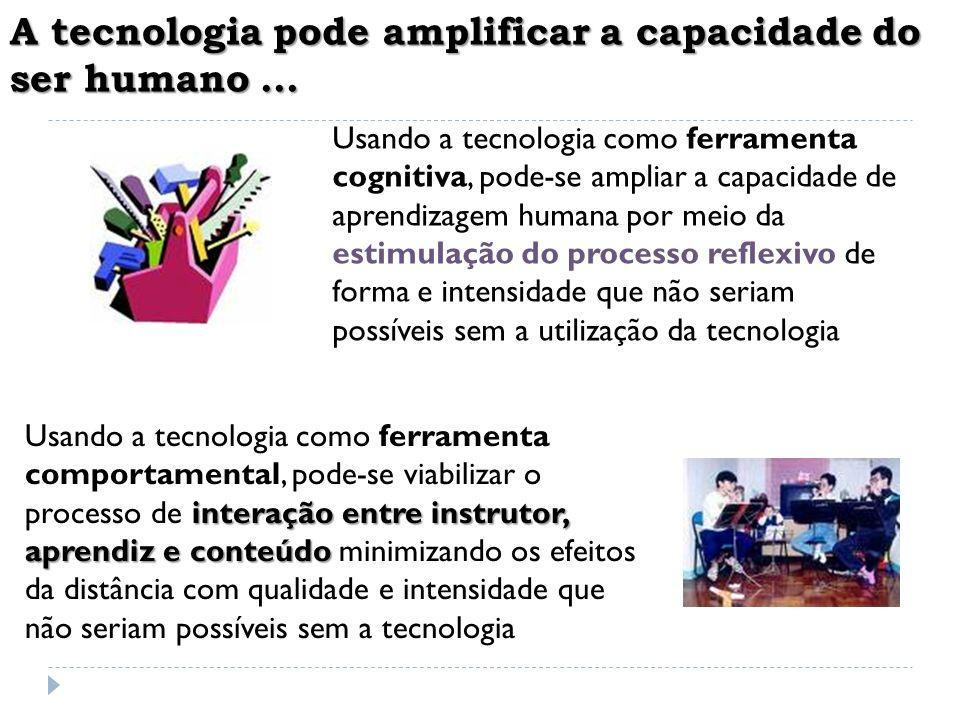 A tecnologia pode amplificar a capacidade do ser humano... ferramenta cognitiva estimulação do processo reflexivo Usando a tecnologia como ferramenta