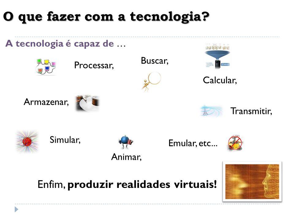 O que fazer com a tecnologia? A tecnologia é capaz de A tecnologia é capaz de … Armazenar, Buscar, Transmitir, Processar, Calcular, Simular, Animar, E