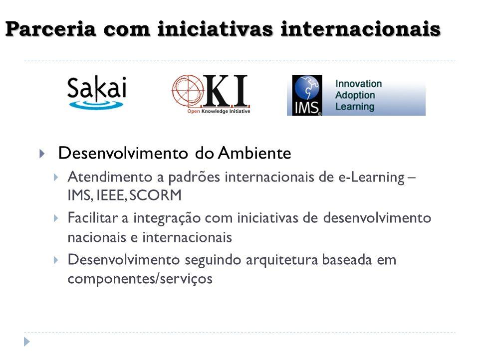 Parceria com iniciativas internacionais Desenvolvimento do Ambiente Atendimento a padrões internacionais de e-Learning – IMS, IEEE, SCORM Facilitar a