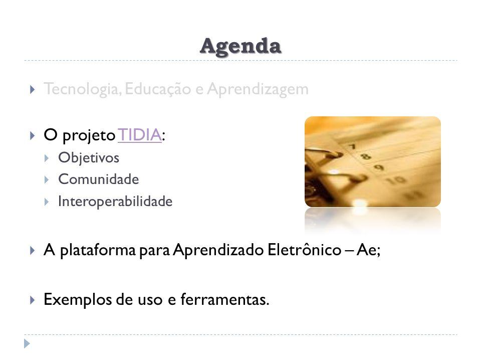 Agenda Tecnologia, Educação e Aprendizagem O projeto TIDIA:TIDIA Objetivos Comunidade Interoperabilidade A plataforma para Aprendizado Eletrônico – Ae