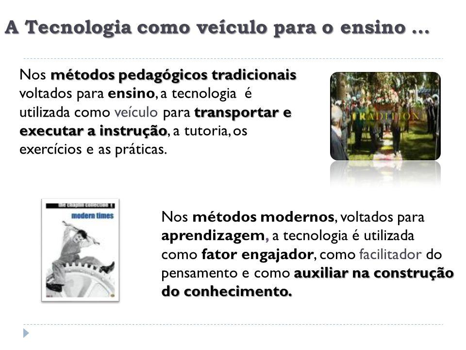 A Tecnologia como veículo para o ensino... métodos pedagógicos tradicionais ensino veículotransportar e executar a instrução Nos métodos pedagógicos t