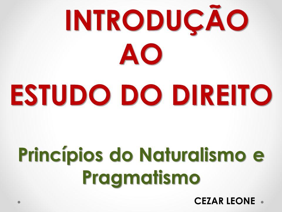INTRODUÇÃO AO ESTUDO DO DIREITO Princípios do Naturalismo e Pragmatismo CEZAR LEONE