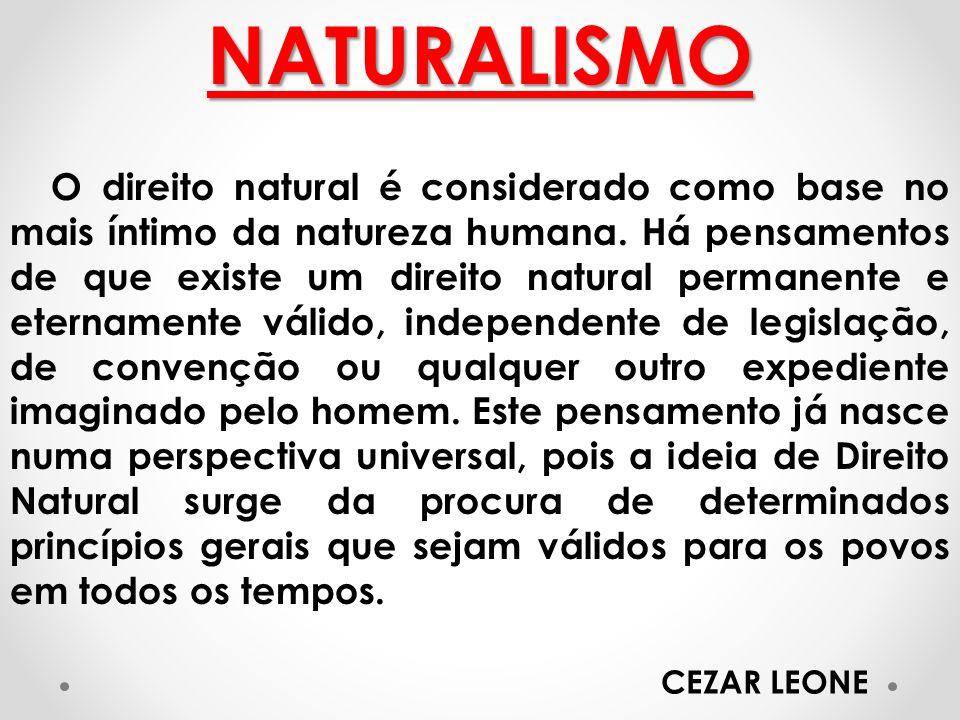 NATURALISMO O direito natural é considerado como base no mais íntimo da natureza humana. Há pensamentos de que existe um direito natural permanente e