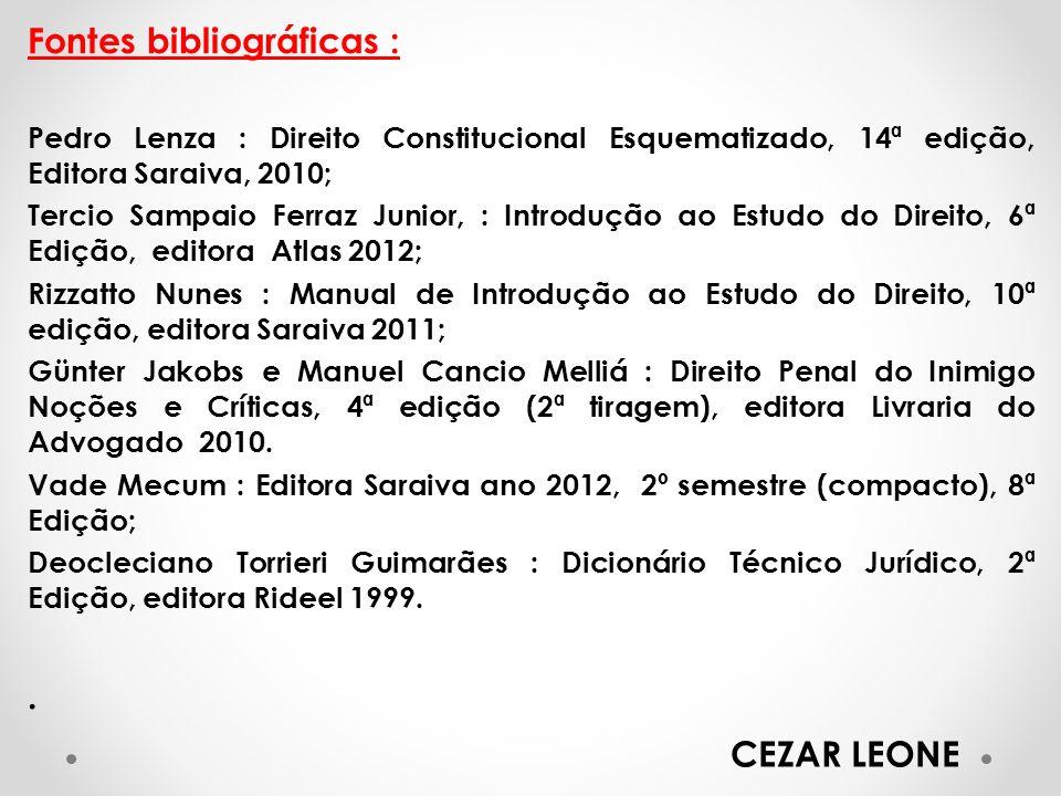 Fontes bibliográficas : Pedro Lenza : Direito Constitucional Esquematizado, 14ª edição, Editora Saraiva, 2010; Tercio Sampaio Ferraz Junior, : Introdu