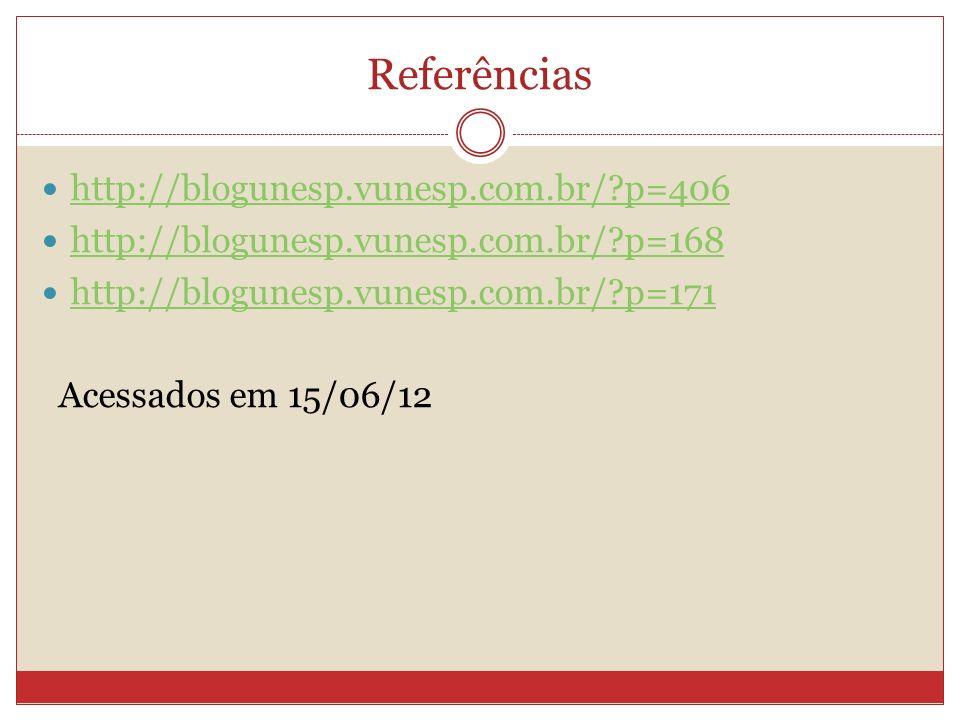Referências http://blogunesp.vunesp.com.br/?p=406 http://blogunesp.vunesp.com.br/?p=168 http://blogunesp.vunesp.com.br/?p=171 Acessados em 15/06/12