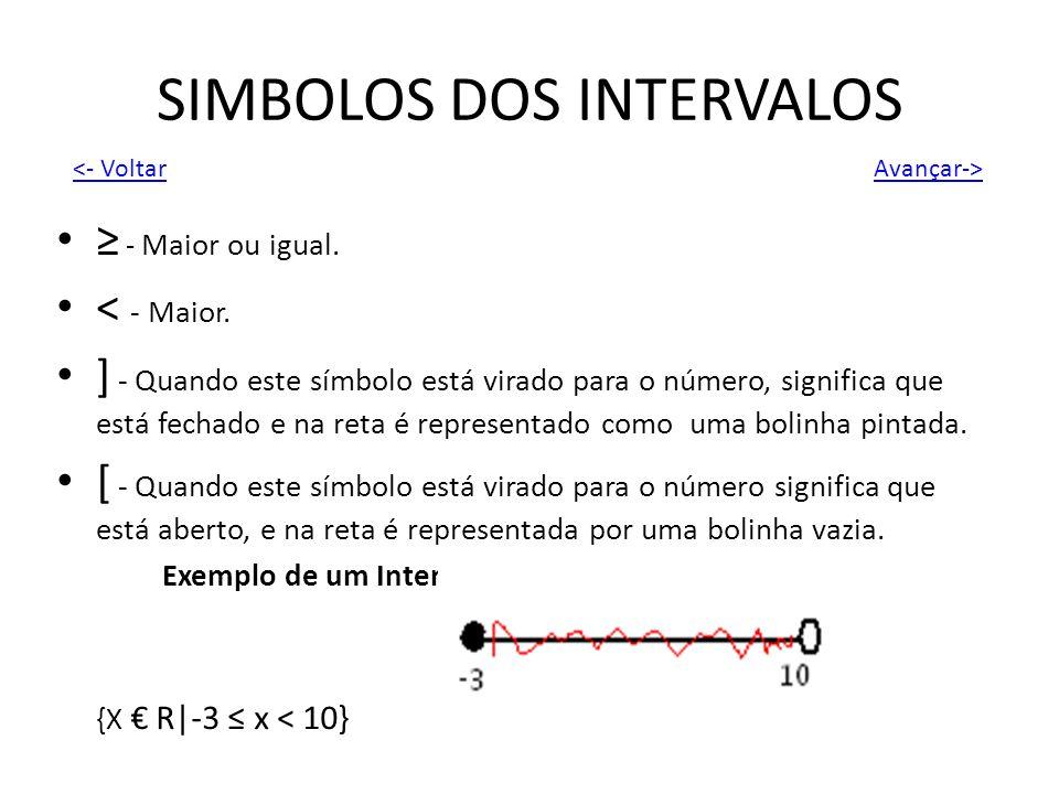 SIMBOLOS DOS INTERVALOS - Maior ou igual. < - Maior. ] - Quando este símbolo está virado para o número, significa que está fechado e na reta é represe