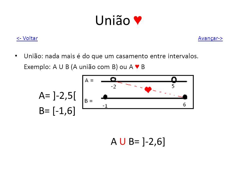 União União: nada mais é do que um casamento entre intervalos. Exemplo: A U B (A união com B) ou A B A= ]-2,5[ B= [-1,6] A U B= ]-2,6] Avançar-><- Vol
