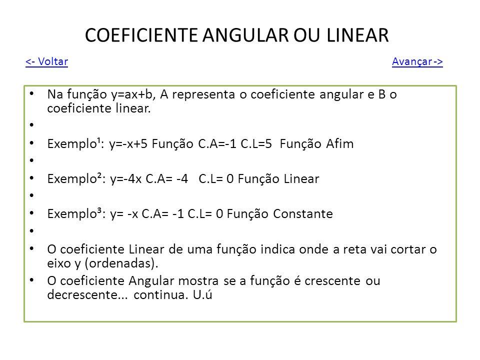 COEFICIENTE ANGULAR OU LINEAR Na função y=ax+b, A representa o coeficiente angular e B o coeficiente linear. Exemplo¹: y=-x+5 Função C.A=-1 C.L=5 Funç