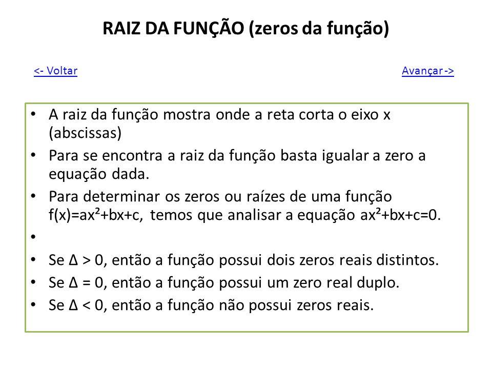 RAIZ DA FUNÇÃO (zeros da função) A raiz da função mostra onde a reta corta o eixo x (abscissas) Para se encontra a raiz da função basta igualar a zero