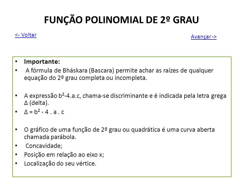 FUNÇÃO POLINOMIAL DE 2º GRAU Importante: A fórmula de Bháskara (Bascara) permite achar as raízes de qualquer equação do 2º grau completa ou incompleta