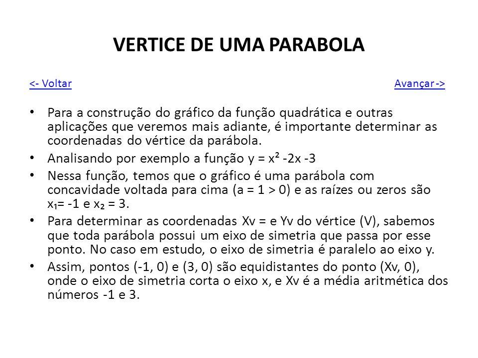 VERTICE DE UMA PARABOLA Para a construção do gráfico da função quadrática e outras aplicações que veremos mais adiante, é importante determinar as coo