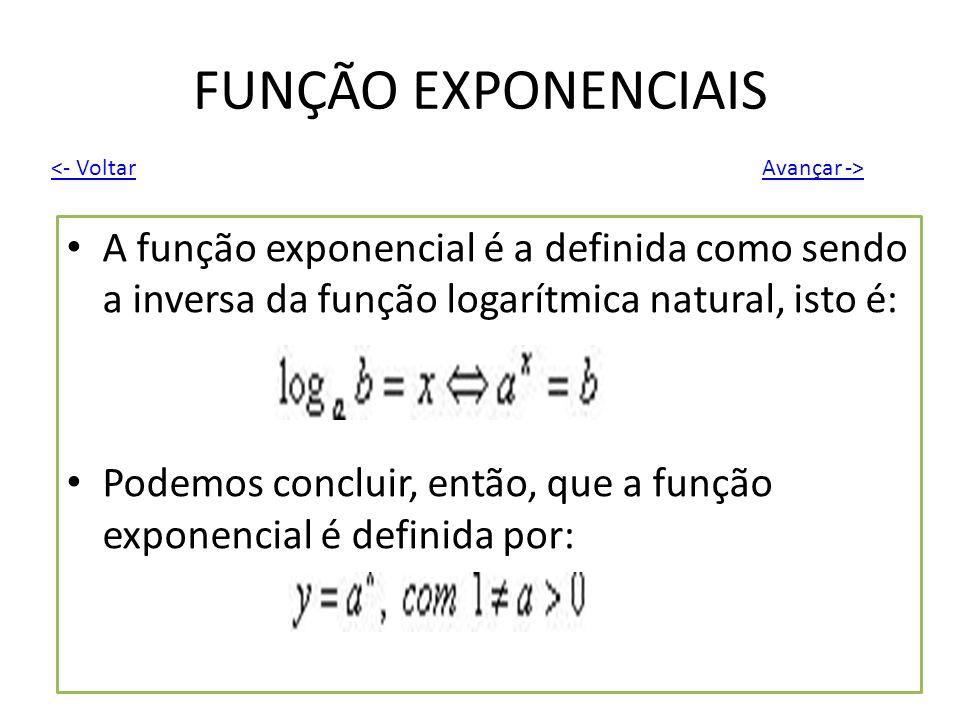 FUNÇÃO EXPONENCIAIS A função exponencial é a definida como sendo a inversa da função logarítmica natural, isto é: Podemos concluir, então, que a funçã