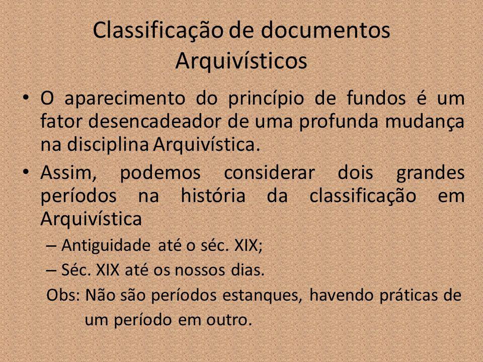 Classificação de documentos Arquivísticos O aparecimento do princípio de fundos é um fator desencadeador de uma profunda mudança na disciplina Arquiví