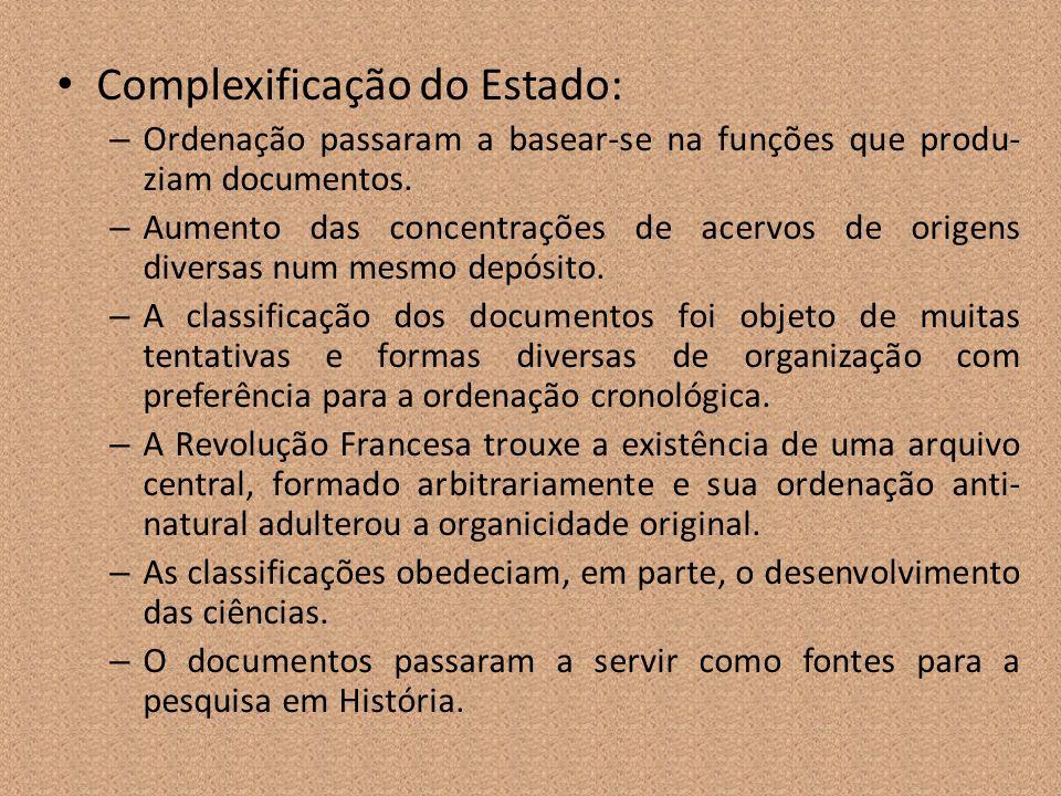 Complexificação do Estado: – Ordenação passaram a basear-se na funções que produ- ziam documentos. – Aumento das concentrações de acervos de origens d