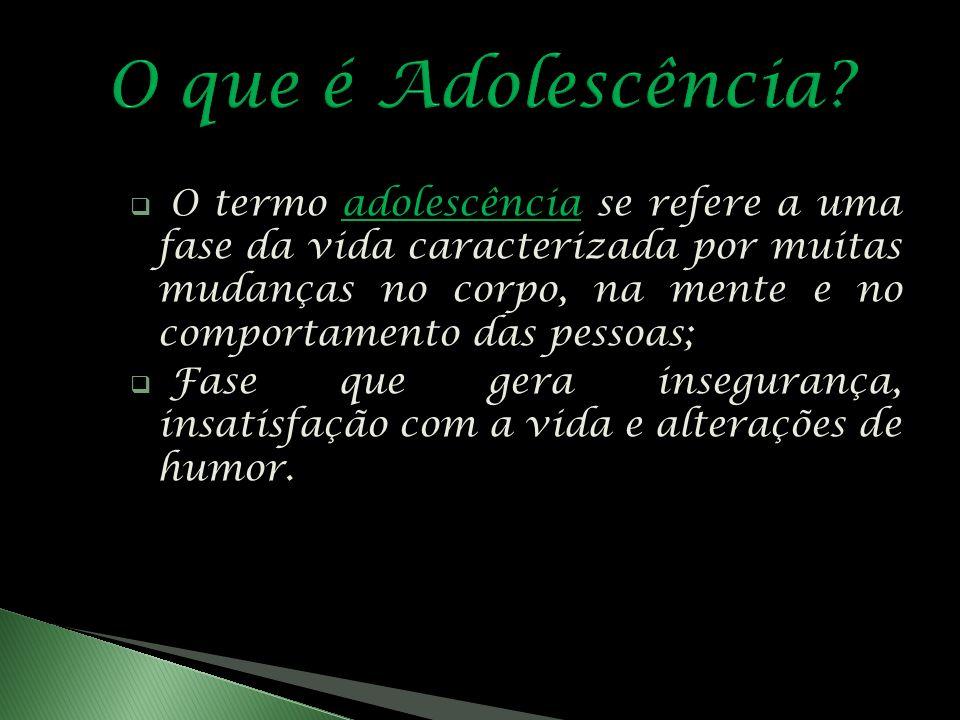 O termo adolescência se refere a uma fase da vida caracterizada por muitas mudanças no corpo, na mente e no comportamento das pessoas; Fase que gera insegurança, insatisfação com a vida e alterações de humor.