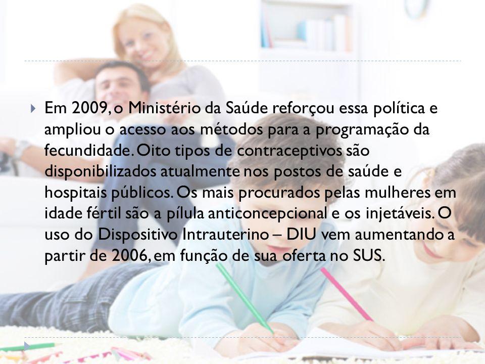 Em 2009, o Ministério da Saúde reforçou essa política e ampliou o acesso aos métodos para a programação da fecundidade. Oito tipos de contraceptivos s