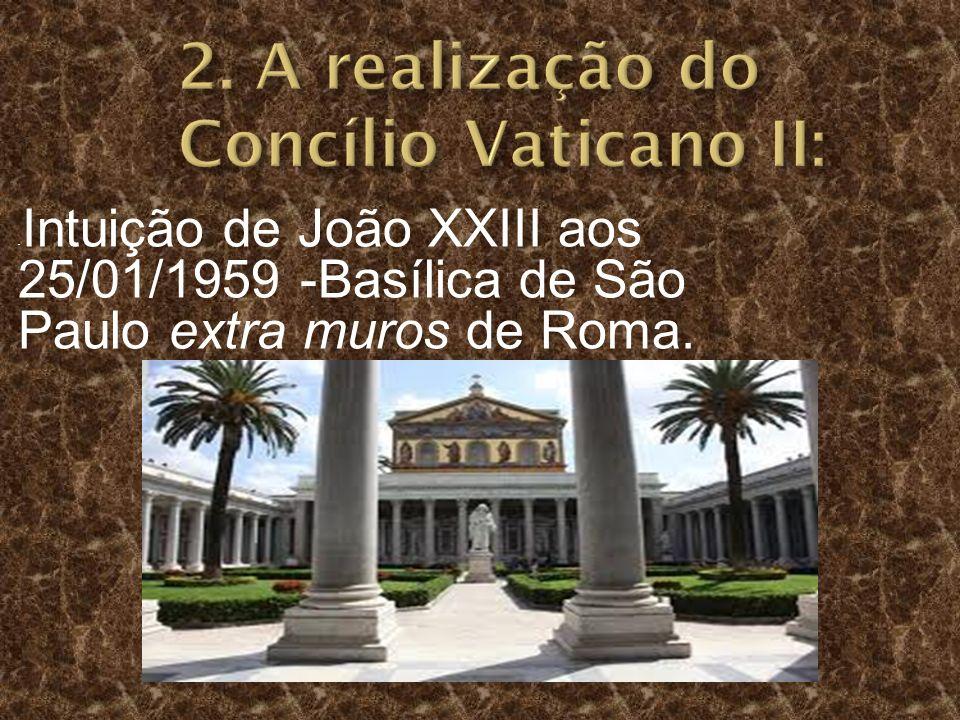 - Intuição de João XXIII aos 25/01/1959 -Basílica de São Paulo extra muros de Roma.