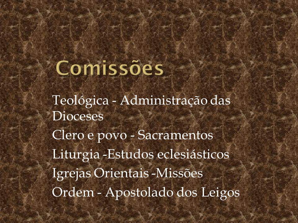 Teológica - Administração das Dioceses Clero e povo - Sacramentos Liturgia -Estudos eclesiásticos Igrejas Orientais -Missões Ordem - Apostolado dos Leigos