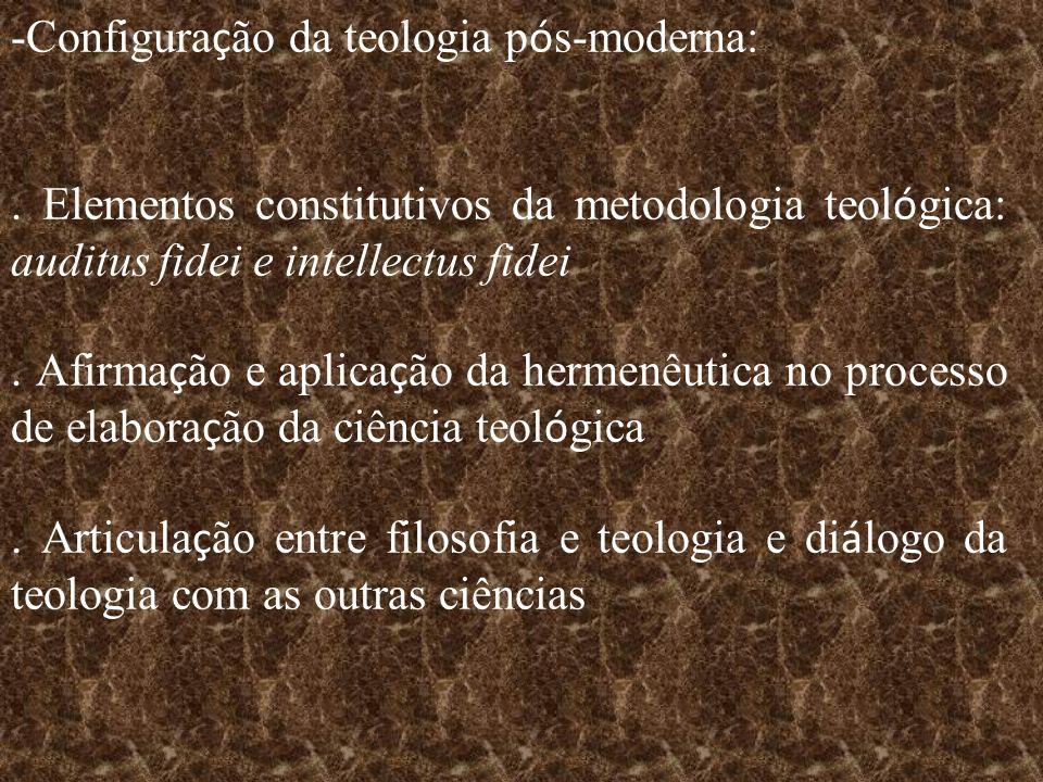 -Configura ç ão da teologia p ó s-moderna:. Elementos constitutivos da metodologia teol ó gica: auditus fidei e intellectus fidei. Afirma ç ão e aplic