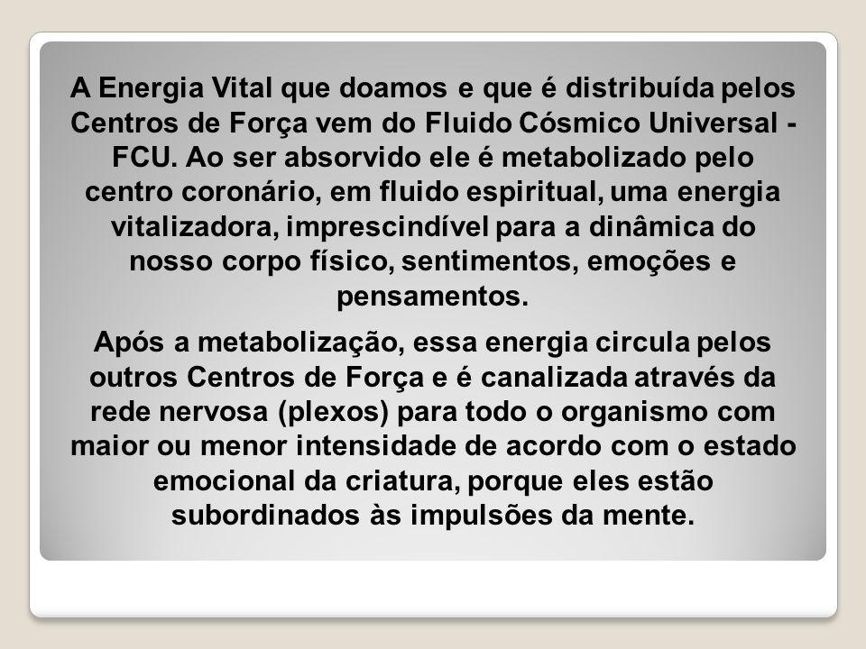 A Energia Vital que doamos e que é distribuída pelos Centros de Força vem do Fluido Cósmico Universal - FCU. Ao ser absorvido ele é metabolizado pelo