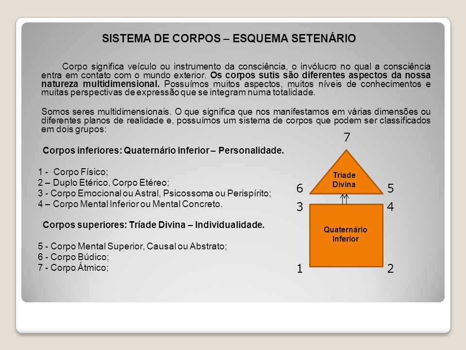 SISTEMA DE CORPOS – ESQUEMA SETENÁRIO Corpo significa veículo ou instrumento da consciência, o invólucro no qual a consciência entra em contato com o