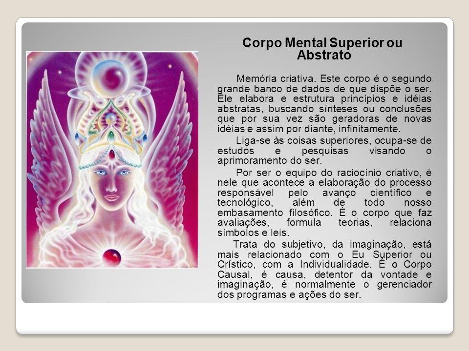 Corpo Mental Superior ou Abstrato Memória criativa. Este corpo é o segundo grande banco de dados de que dispõe o ser. Ele elabora e estrutura princípi