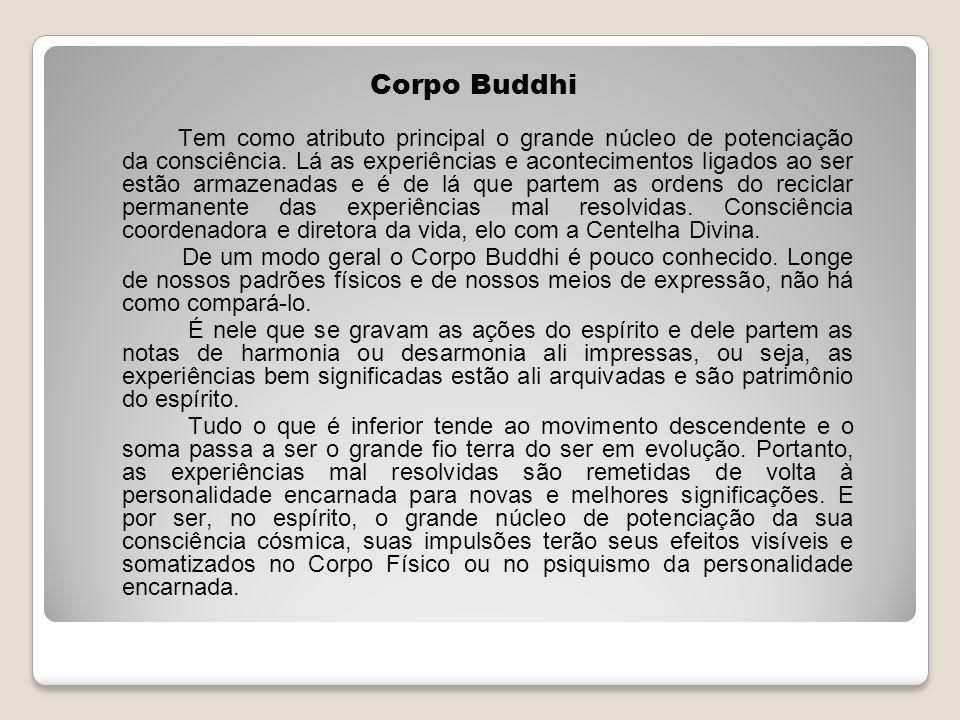 Corpo Buddhi Tem como atributo principal o grande núcleo de potenciação da consciência. Lá as experiências e acontecimentos ligados ao ser estão armaz