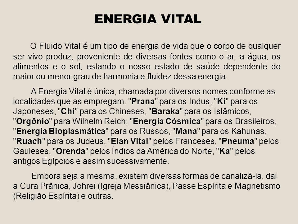 ENERGIA VITAL O Fluido Vital é um tipo de energia de vida que o corpo de qualquer ser vivo produz, proveniente de diversas fontes como o ar, a á gua,