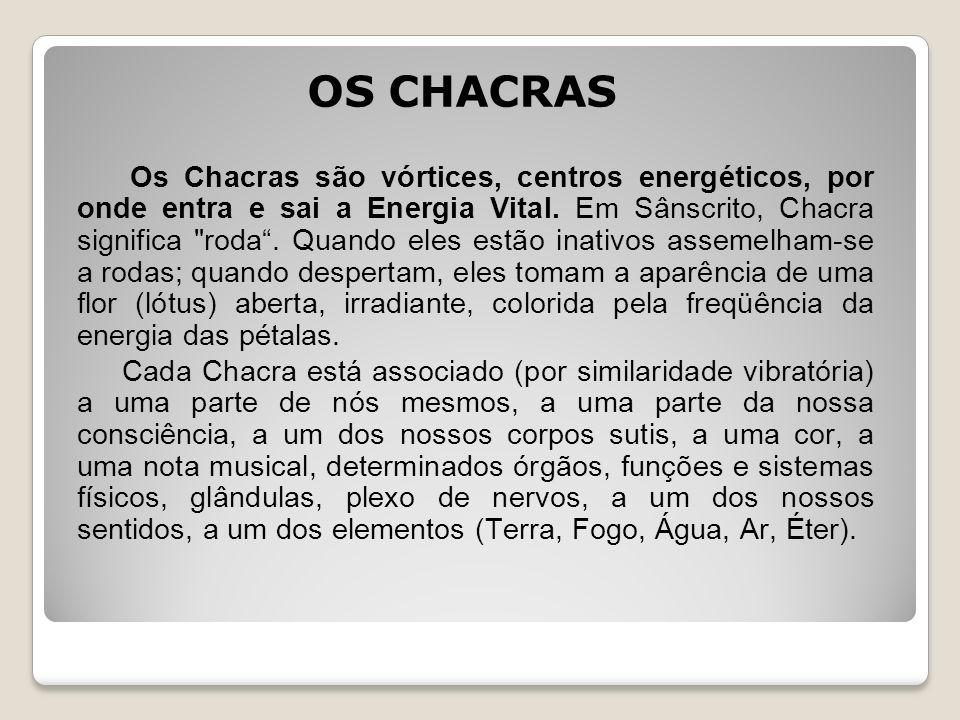 OS CHACRAS Os Chacras são vórtices, centros energéticos, por onde entra e sai a Energia Vital. Em Sânscrito, Chacra significa