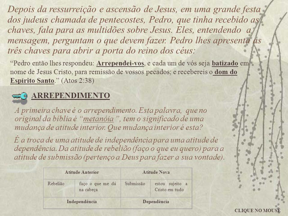 Depois da ressurreição e ascensão de Jesus, em uma grande festa dos judeus chamada de pentecostes, Pedro, que tinha recebido as chaves, fala para as m