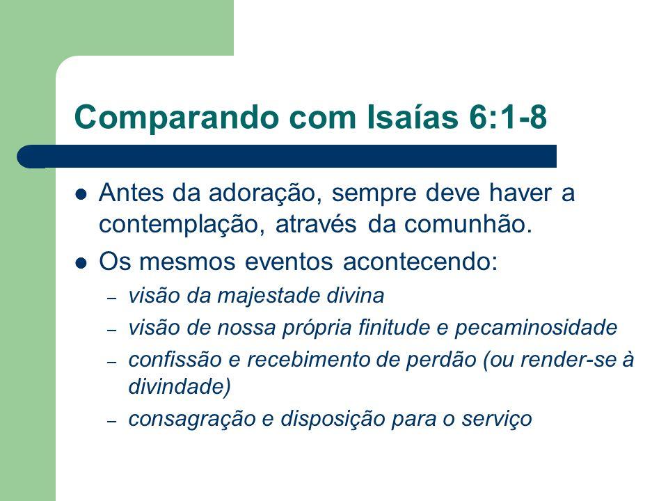 Comparando com Isaías 6:1-8 Antes da adoração, sempre deve haver a contemplação, através da comunhão.
