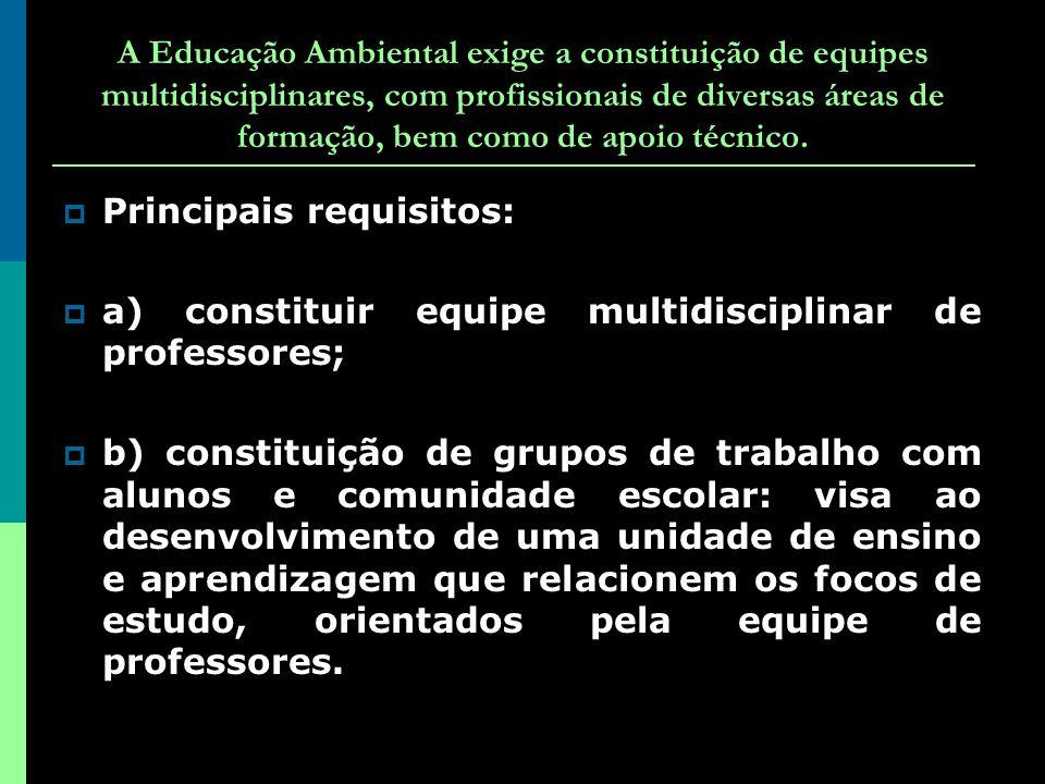 A Educação Ambiental exige a constituição de equipes multidisciplinares, com profissionais de diversas áreas de formação, bem como de apoio técnico.