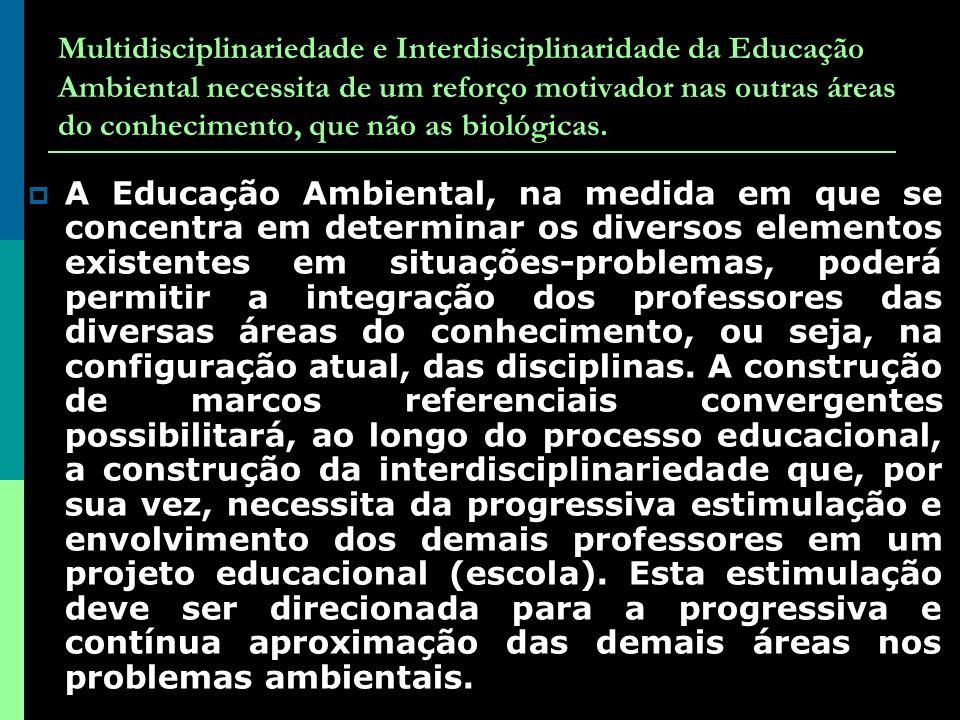 Multidisciplinariedade e Interdisciplinaridade da Educação Ambiental necessita de um reforço motivador nas outras áreas do conhecimento, que não as biológicas.