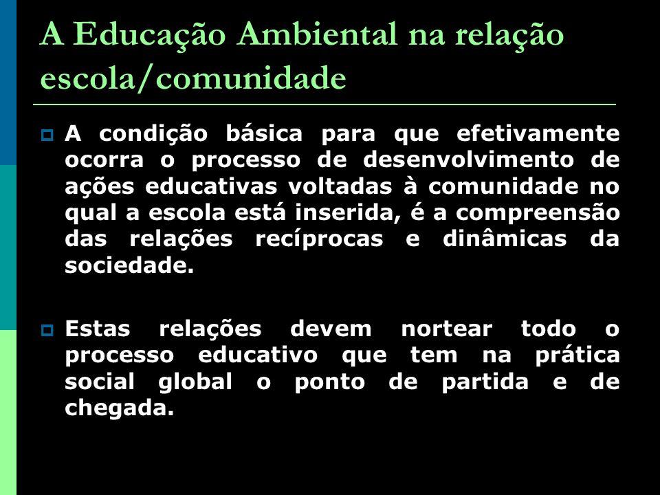 A Educação Ambiental na relação escola/comunidade A condição básica para que efetivamente ocorra o processo de desenvolvimento de ações educativas voltadas à comunidade no qual a escola está inserida, é a compreensão das relações recíprocas e dinâmicas da sociedade.
