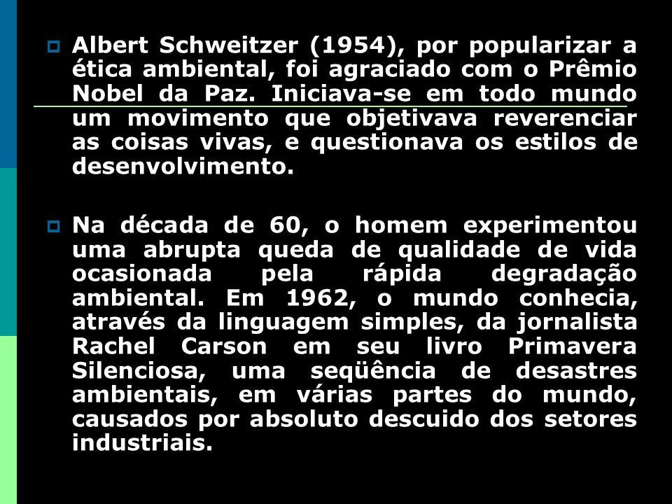 Albert Schweitzer (1954), por popularizar a ética ambiental, foi agraciado com o Prêmio Nobel da Paz.