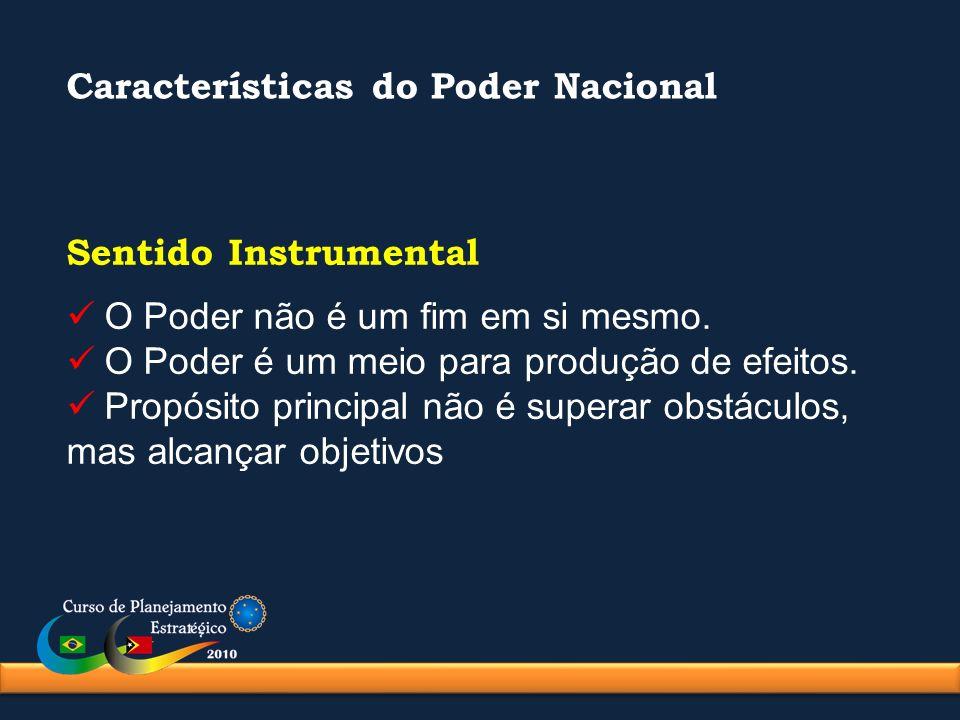 Características do Poder Nacional Sentido Instrumental O Poder não é um fim em si mesmo. O Poder é um meio para produção de efeitos. Propósito princip