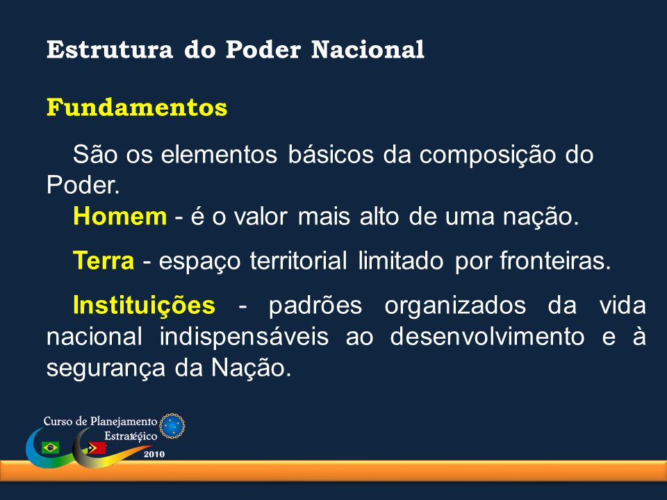 Estrutura do Poder Nacional Fundamentos São os elementos básicos da composição do Poder. Homem - é o valor mais alto de uma nação. Terra - espaço terr