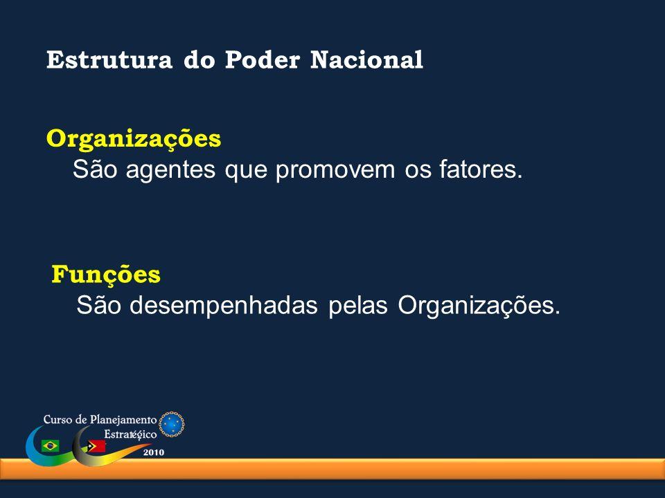 Estrutura do Poder Nacional Organizações São agentes que promovem os fatores. Funções São desempenhadas pelas Organizações.