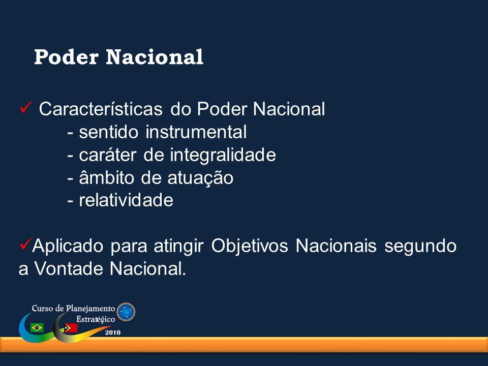 Características do Poder Nacional - sentido instrumental - caráter de integralidade - âmbito de atuação - relatividade Aplicado para atingir Objetivos