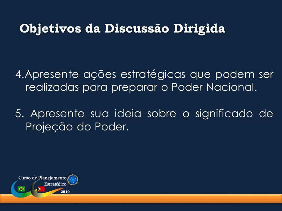 Objetivos da Discussão Dirigida 4.Apresente ações estratégicas que podem ser realizadas para preparar o Poder Nacional. 5. Apresente sua ideia sobre o