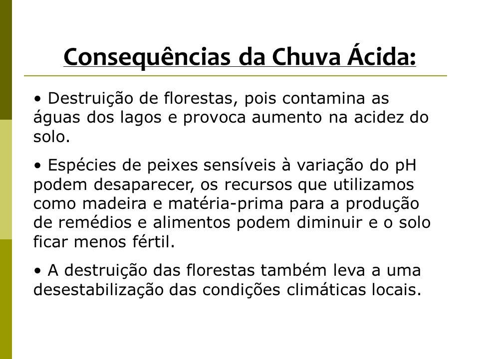Consequências da Chuva Ácida: Destruição de florestas, pois contamina as águas dos lagos e provoca aumento na acidez do solo. Espécies de peixes sensí