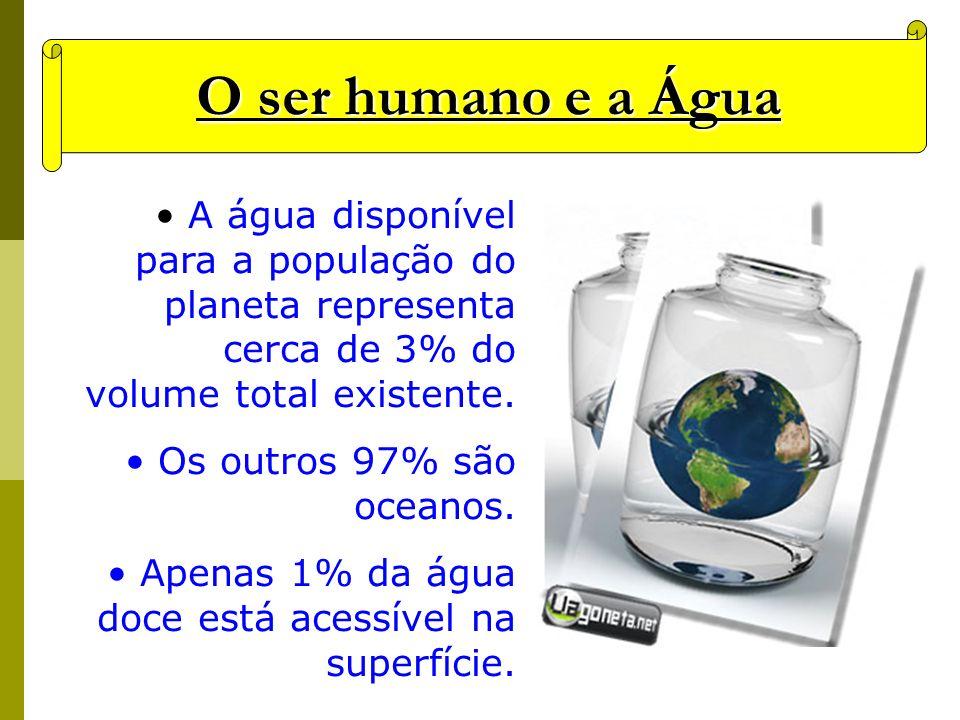 O ser humano e a Água A água disponível para a população do planeta representa cerca de 3% do volume total existente. Os outros 97% são oceanos. Apena
