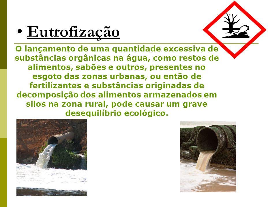 O lançamento de uma quantidade excessiva de substâncias orgânicas na água, como restos de alimentos, sabões e outros, presentes no esgoto das zonas ur