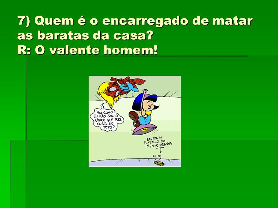7) Quem é o encarregado de matar as baratas da casa? R: O valente homem!