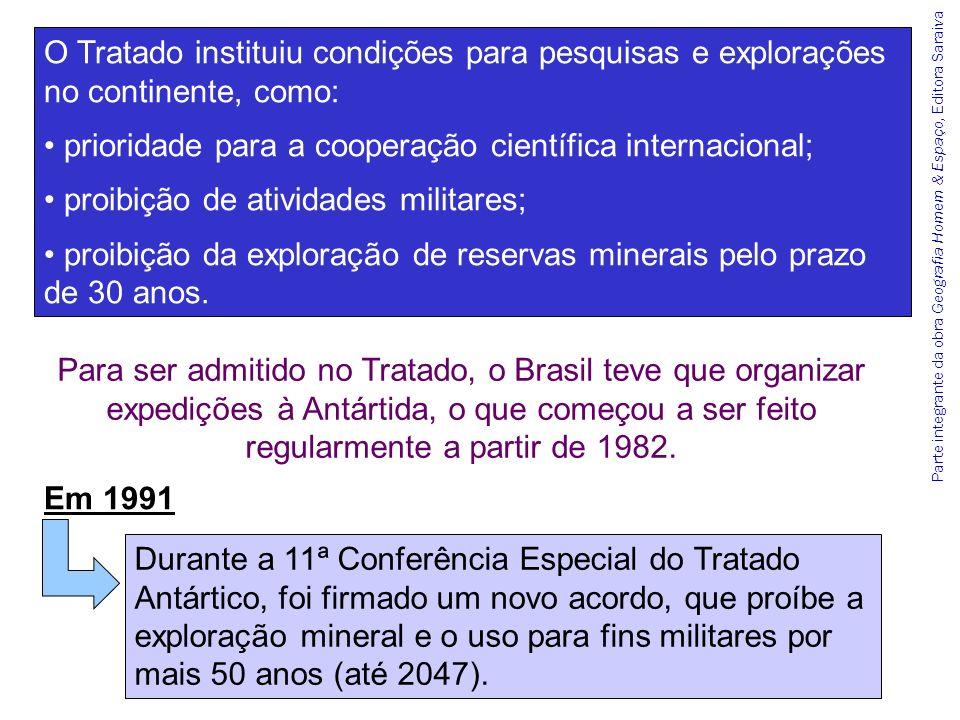 Parte integrante da obra Geografia Homem & Espaço, Editora Saraiva O Tratado instituiu condições para pesquisas e explorações no continente, como: pri