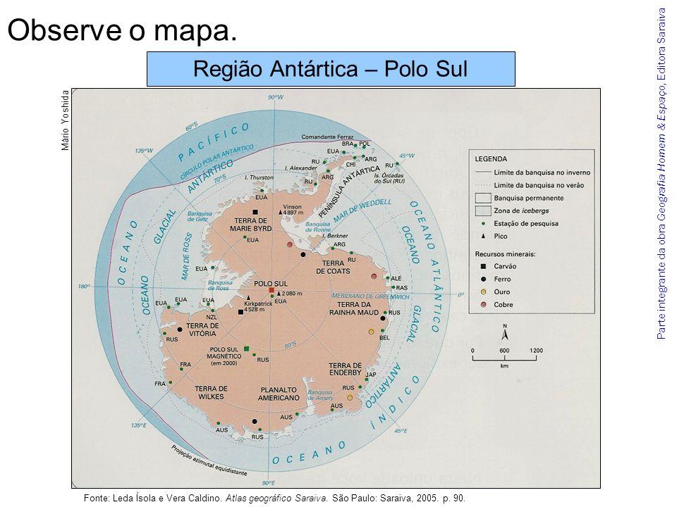 Parte integrante da obra Geografia Homem & Espaço, Editora Saraiva Conversa Quais informações sobre o relevo o mapa apresenta.