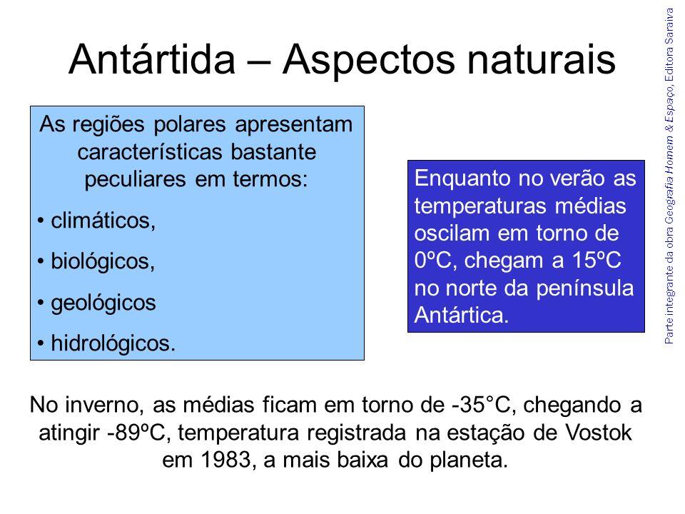 Parte integrante da obra Geografia Homem & Espaço, Editora Saraiva Antártida – Aspectos naturais As regiões polares apresentam características bastant