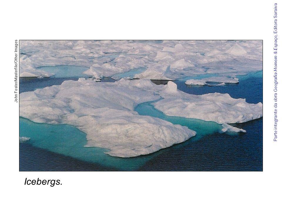 Parte integrante da obra Geografia Homem & Espaço, Editora Saraiva Na primavera, o gelo começa a se derreter, fazendo com que, no verão, a Antártida tenha 73% da superfície do inverno.