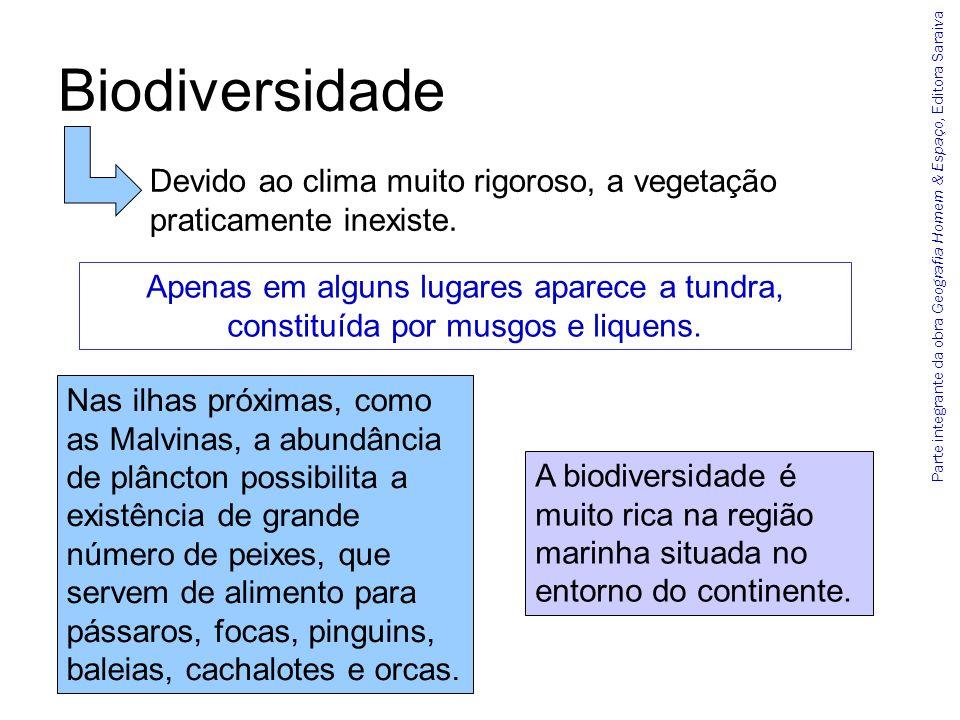 Parte integrante da obra Geografia Homem & Espaço, Editora Saraiva Biodiversidade A biodiversidade é muito rica na região marinha situada no entorno d