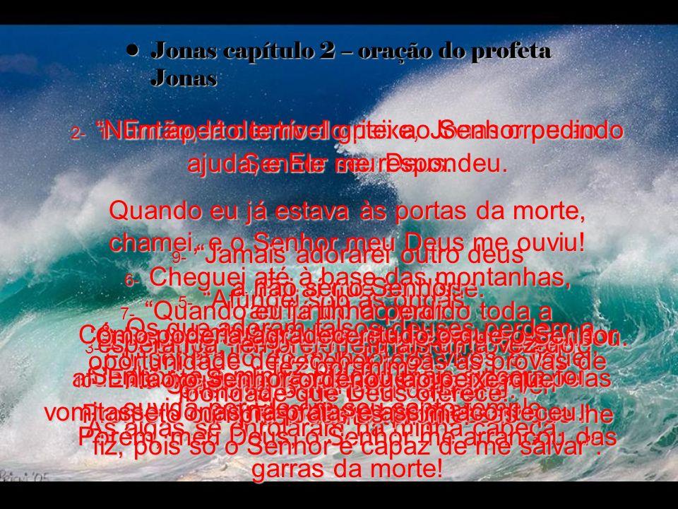 Jonas capítulo 2 – oração do profeta JonasJonas capítulo 2 – oração do profeta Jonas 1- Então, lá dentro do peixe, Jonas orou ao Senhor seu Deus: 2- Num aperto terrível gritei ao Senhor pedindo ajuda, e Ele me respondeu.